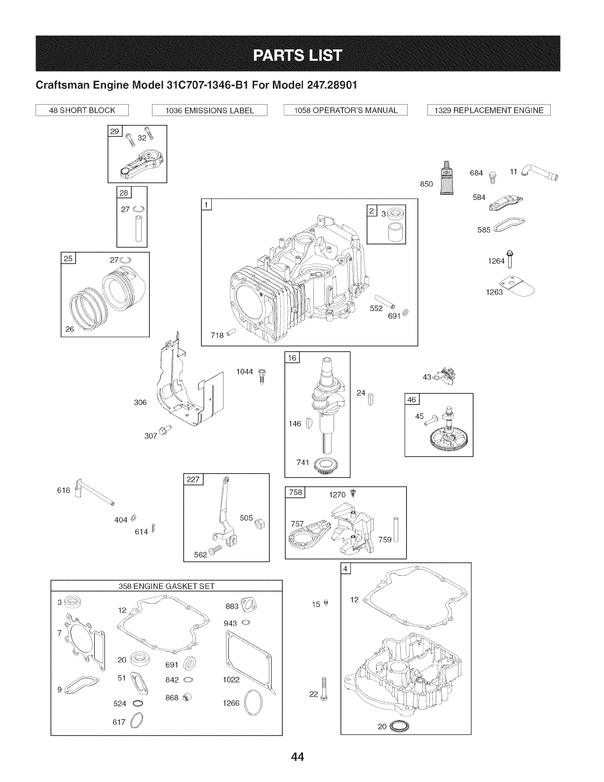 Page 44 of Craftsman Lawn Mower 247.28901 User Guide