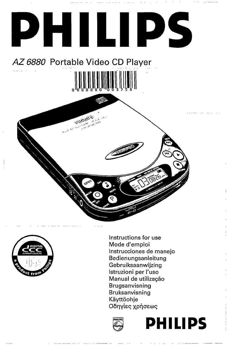 Philips Portable DVD Player AZ 6880 User Guide