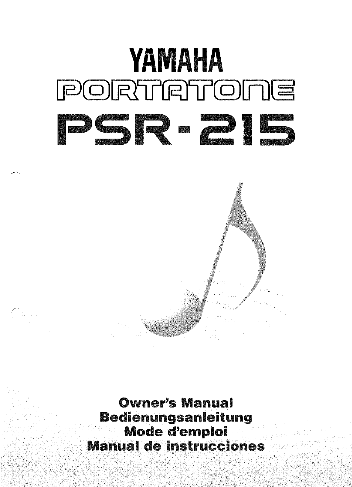 Yamaha Musical Instrument PSR-215 User Guide