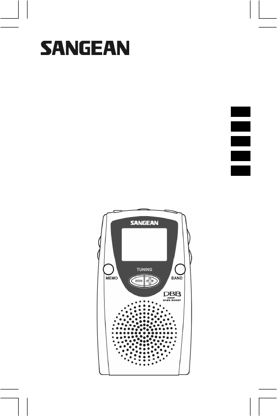 Sangean Electronics Portable Radio DT-210 User Guide