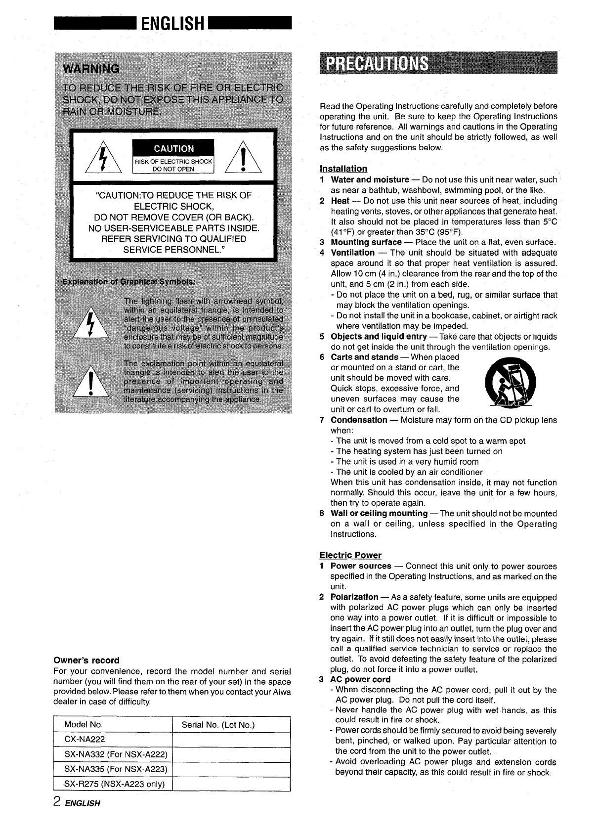Page 2 of Aiwa CD Player CX-NA222 User Guide