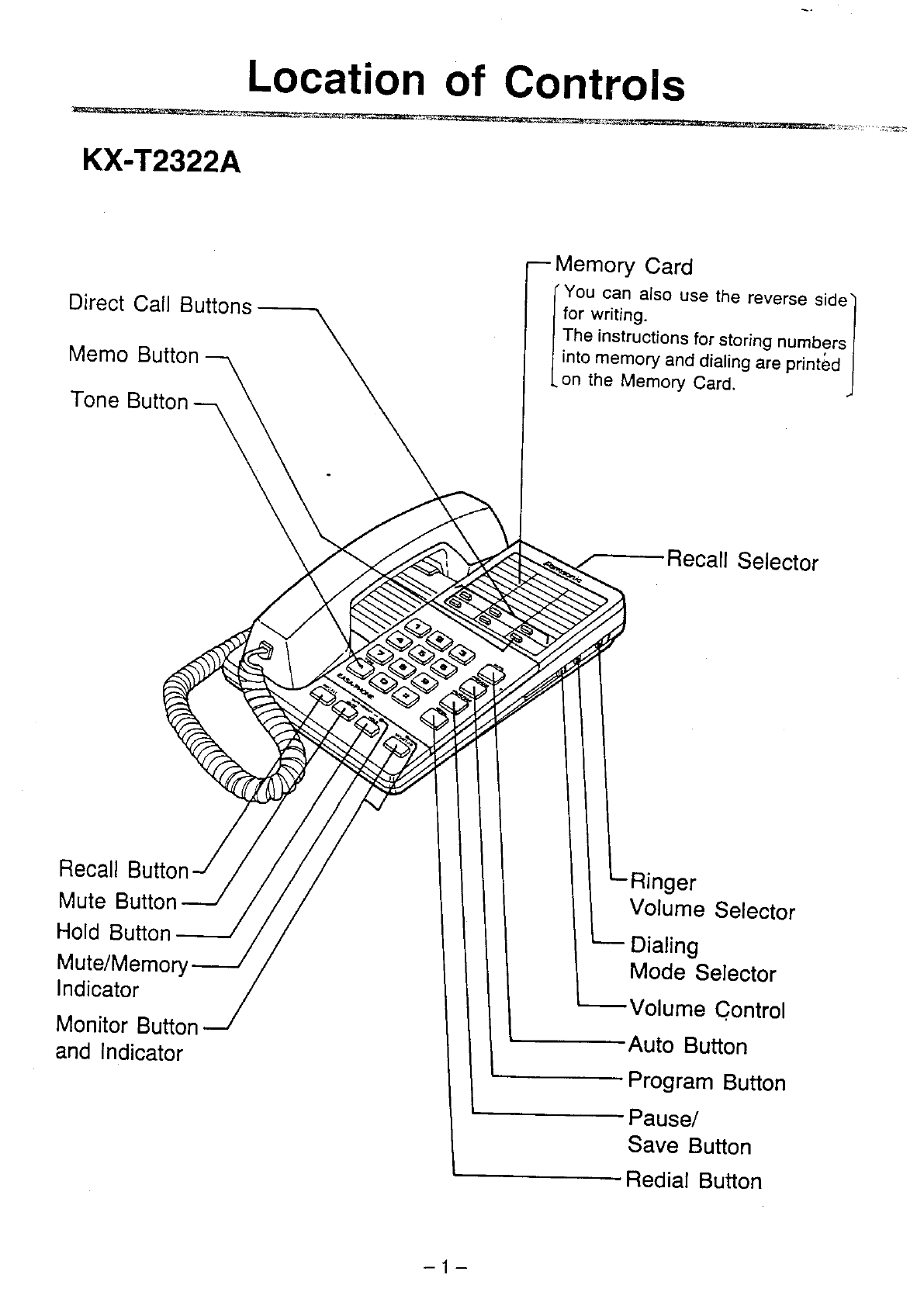 Page 2 of Panasonic Telephone KX-T2342A User Guide