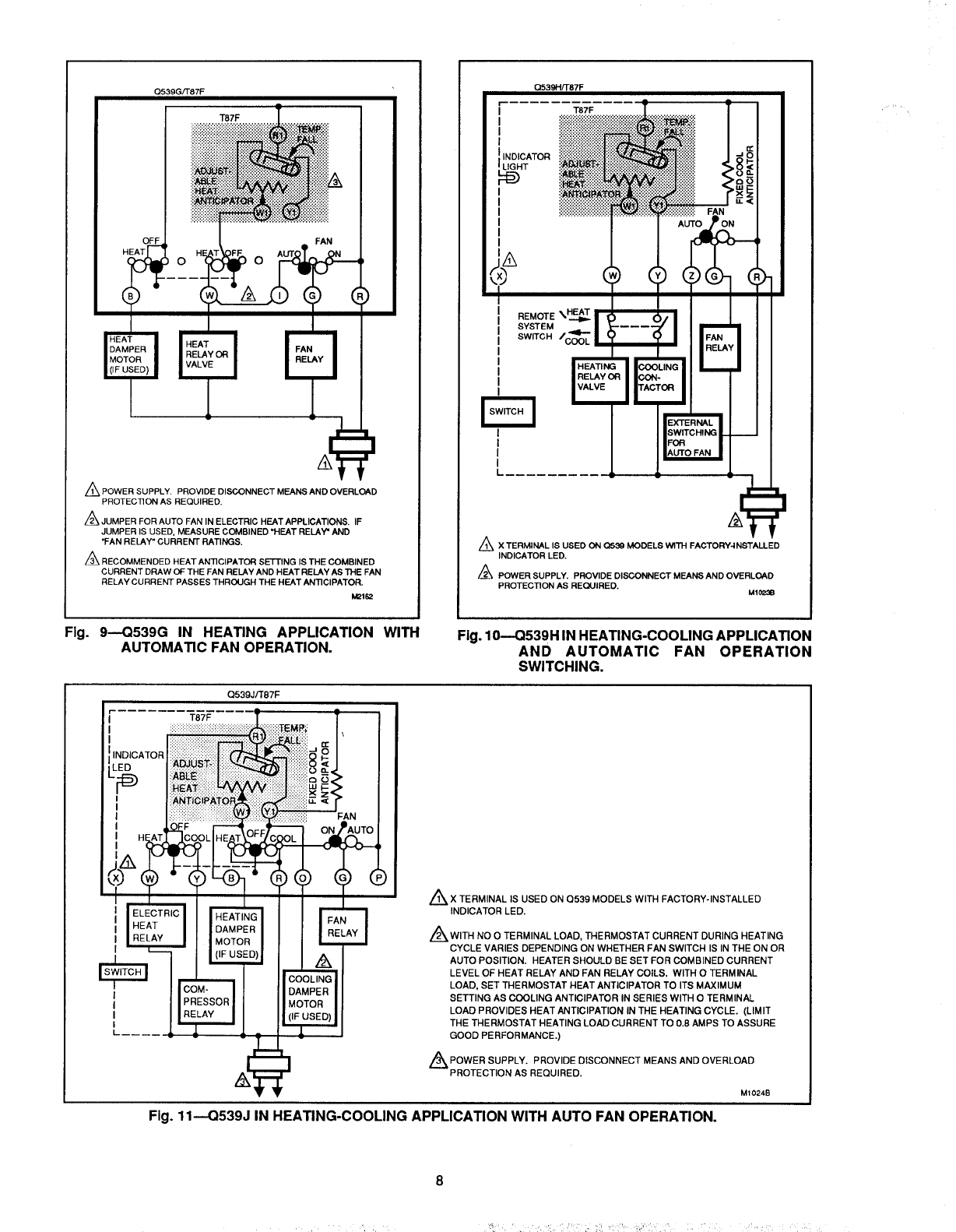 Page 8 of Honeywell Thermostat Q539A User Guide
