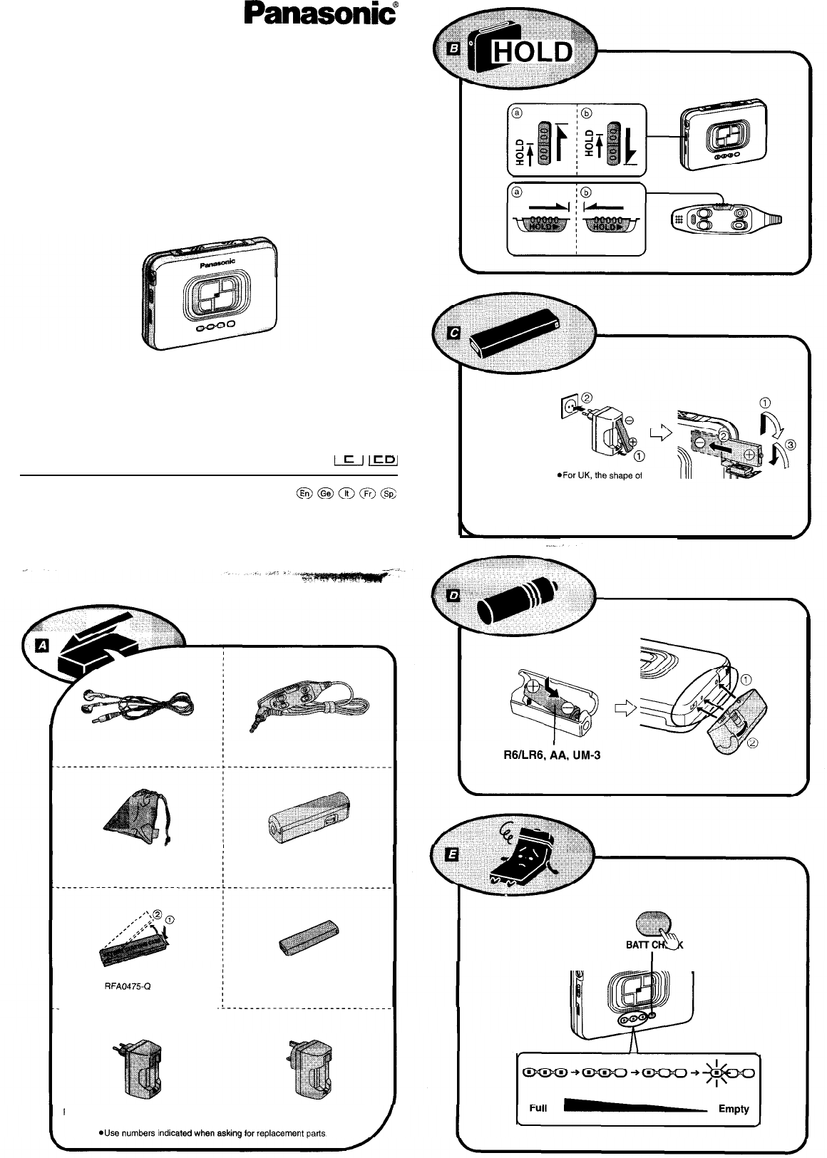 Panasonic Cassette Player RQ-SX45 User Guide