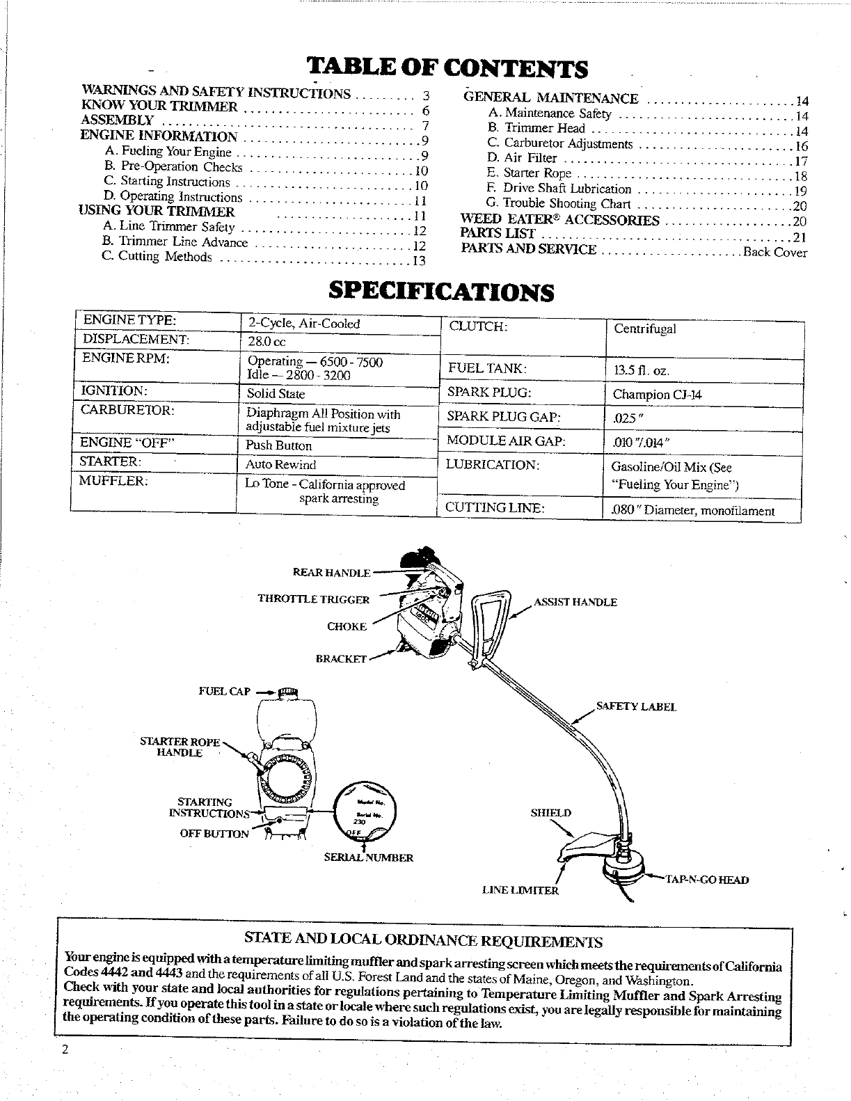 Page 2 of Weed Eater Trimmer 1600 User Guide