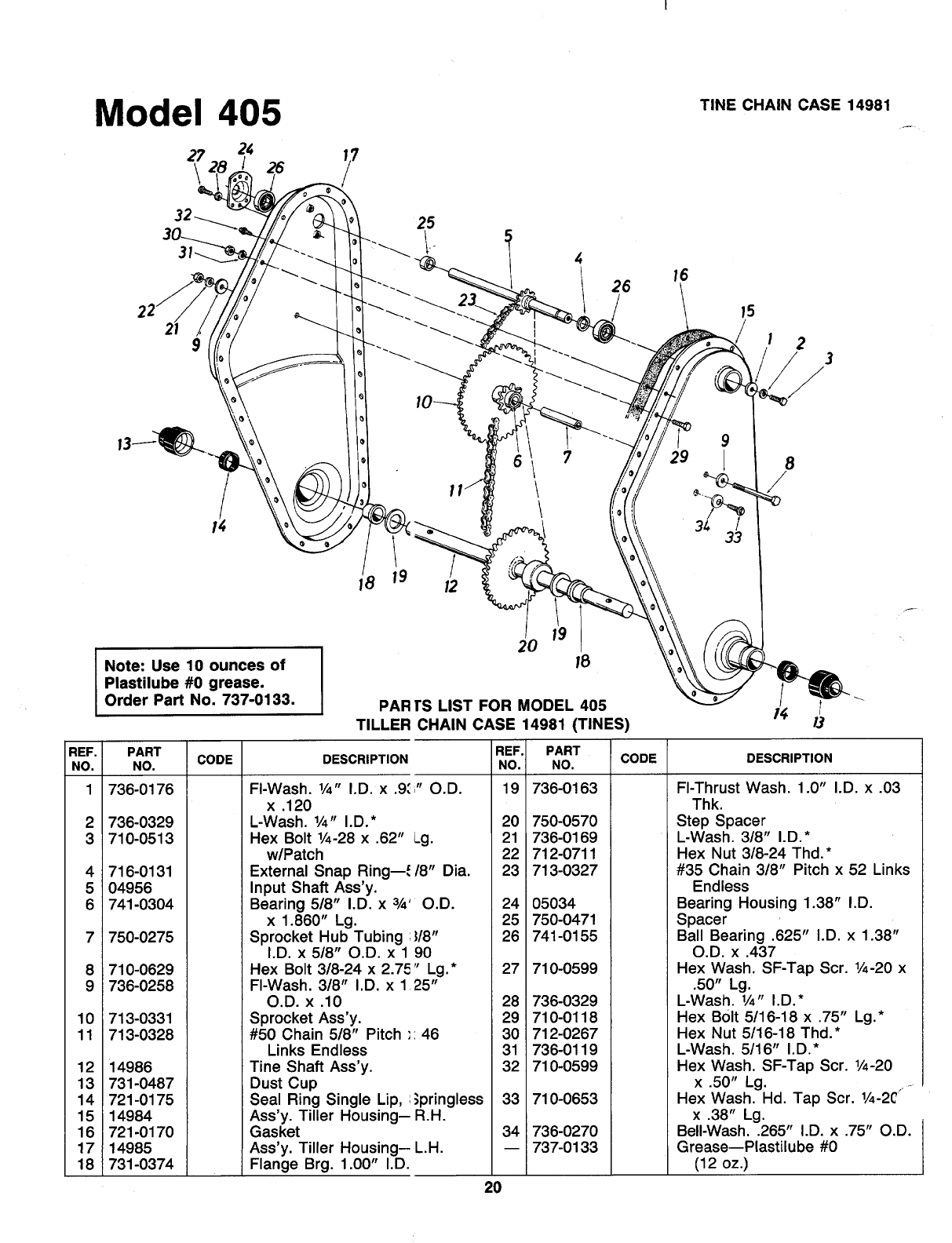 Page 20 of MTD Tiller 219-405-000 User Guide
