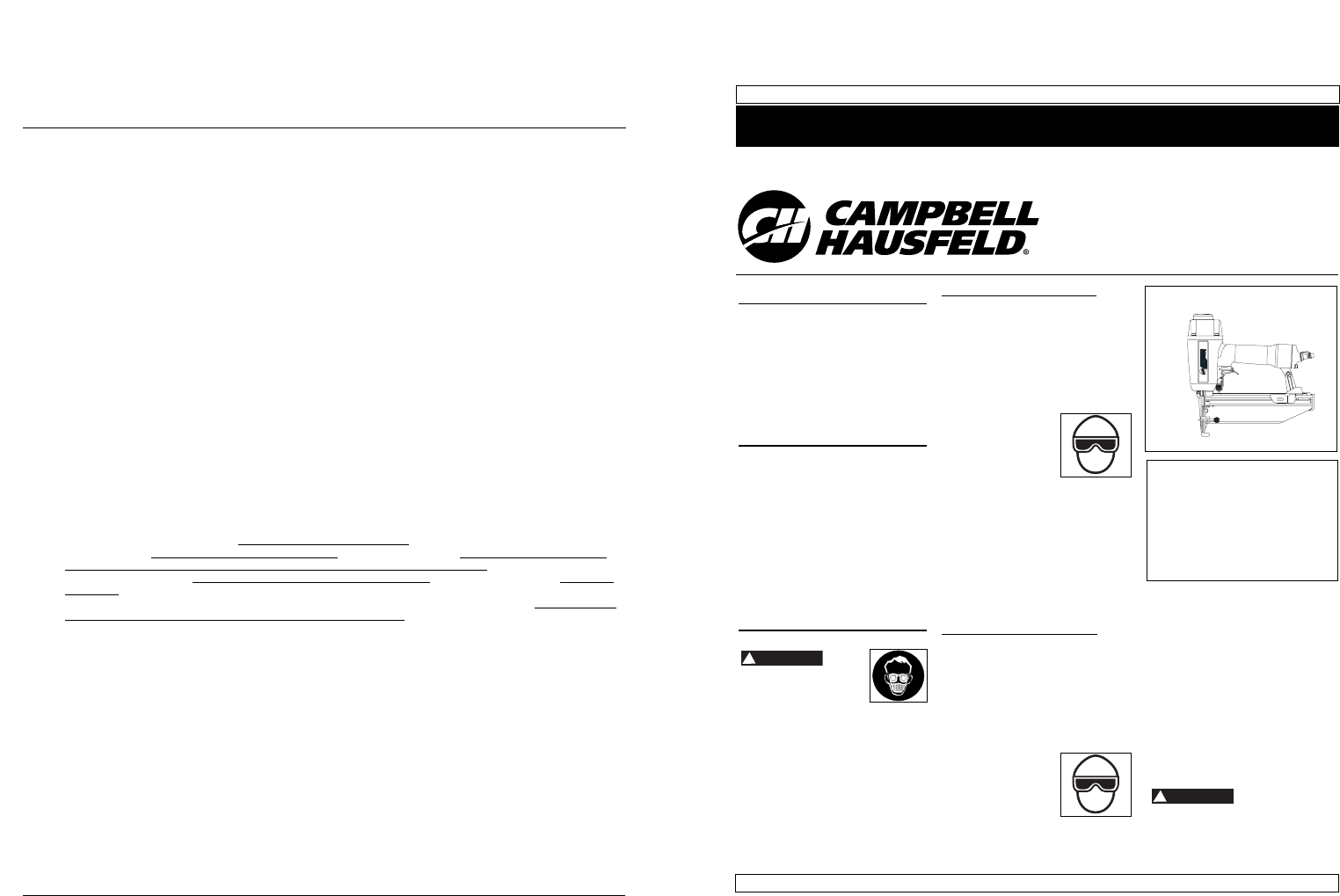 Campbell Hausfeld Nail Gun NB006401 User Guide