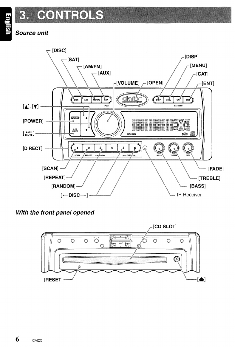 Page 6 of Clarion Car Stereo System CMD5 User Guide