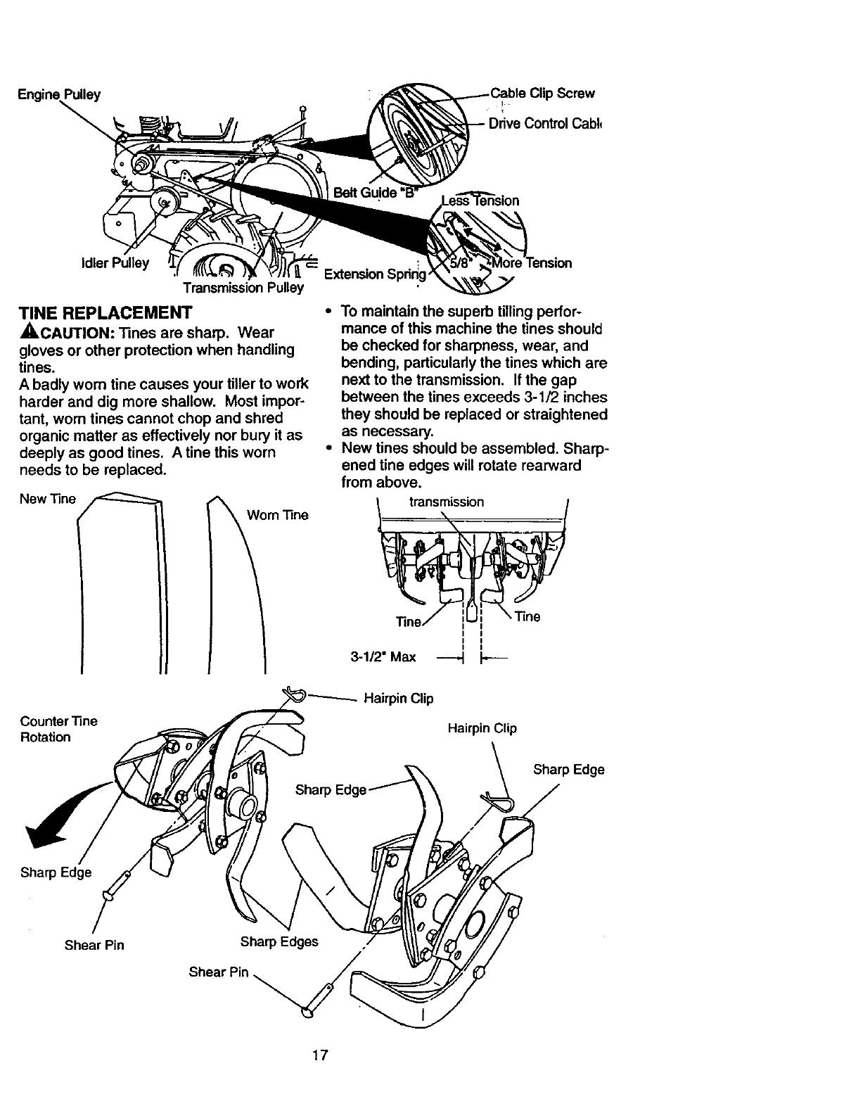 Page 17 of Craftsman Tiller 917.29331 User Guide