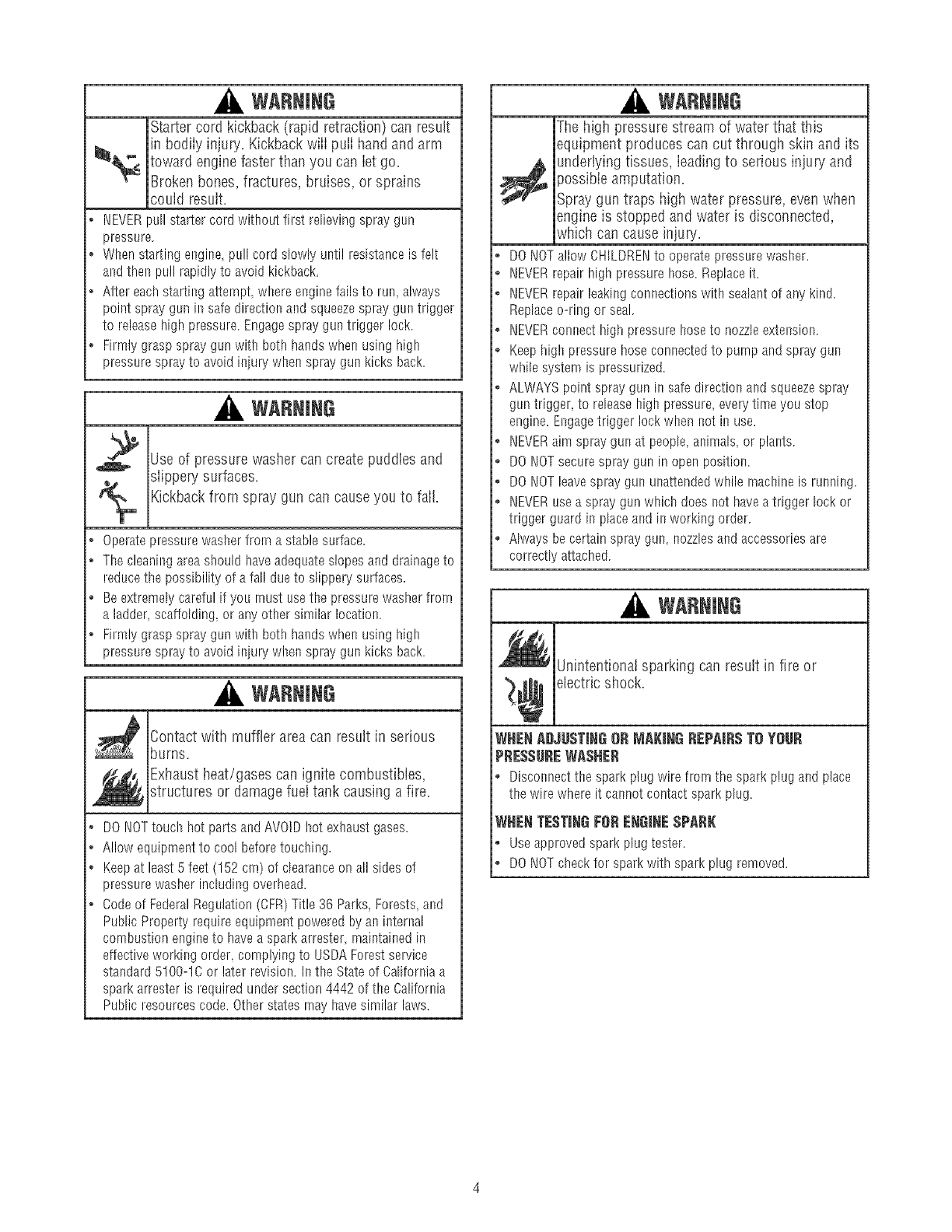 Page 4 of Craftsman Pressure Washer 580.75213 User Guide