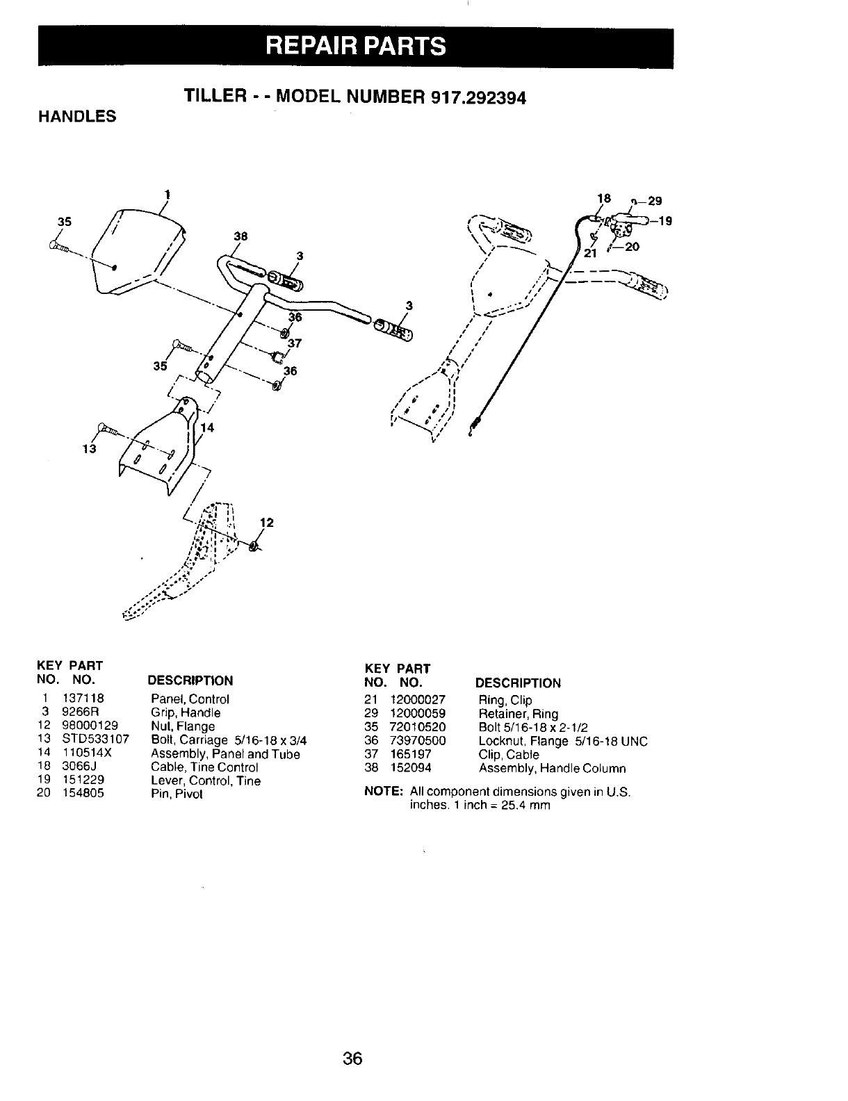 Page 19 of Craftsman Tiller 917.292394 User Guide