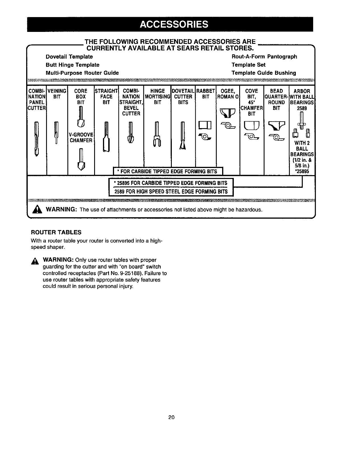Page 20 of Craftsman Router 315.175341 User Guide