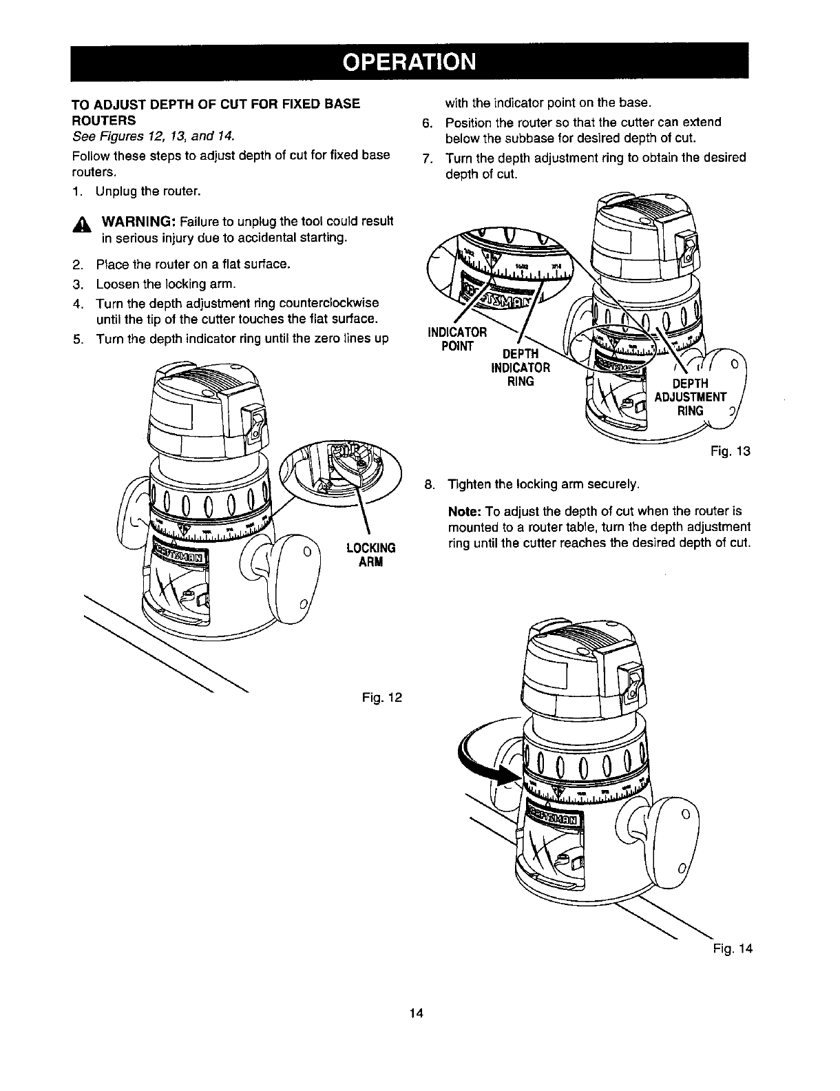 Page 14 of Craftsman Router 315.175341 User Guide