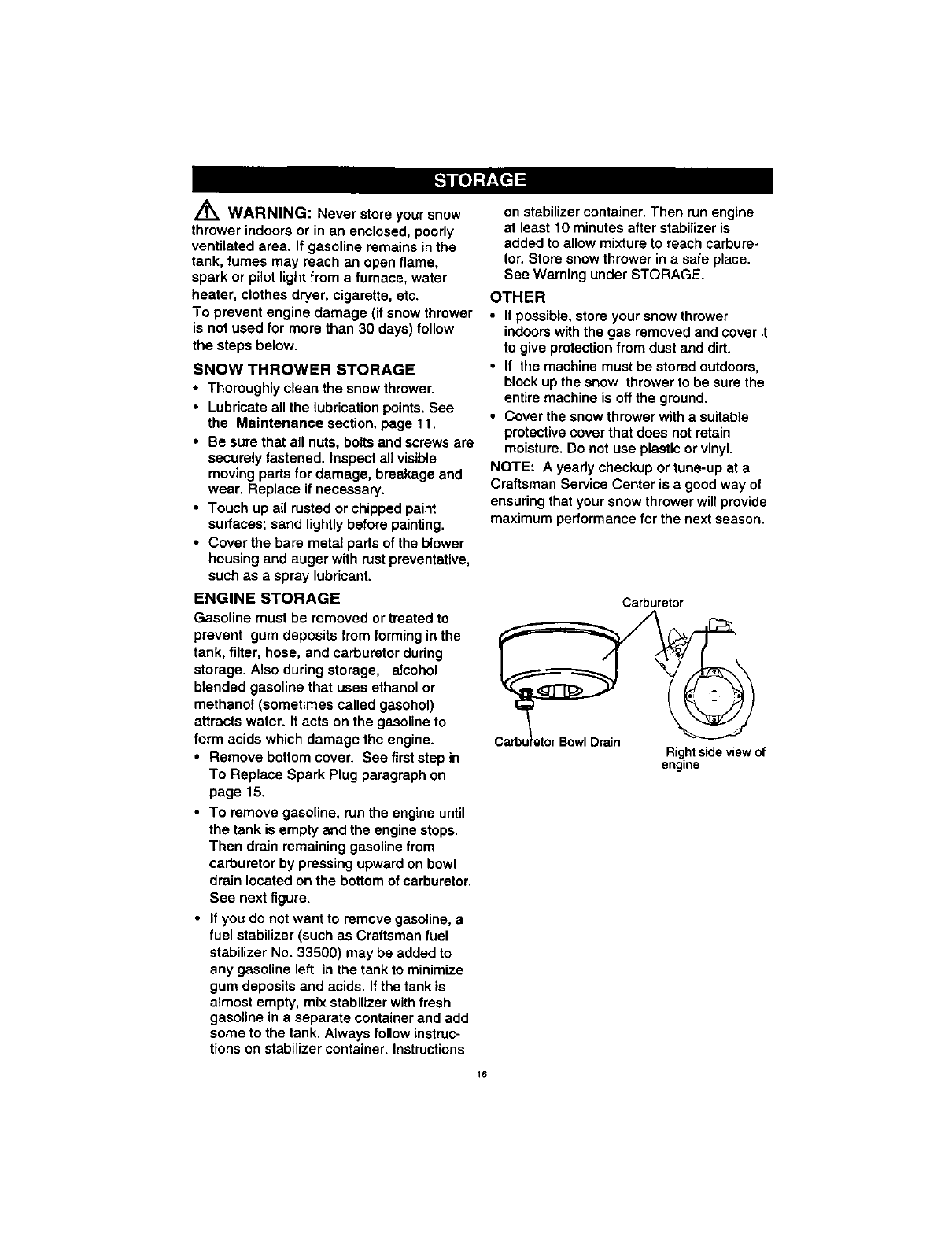 Page 16 of Craftsman Snow Blower 536885211 User Guide