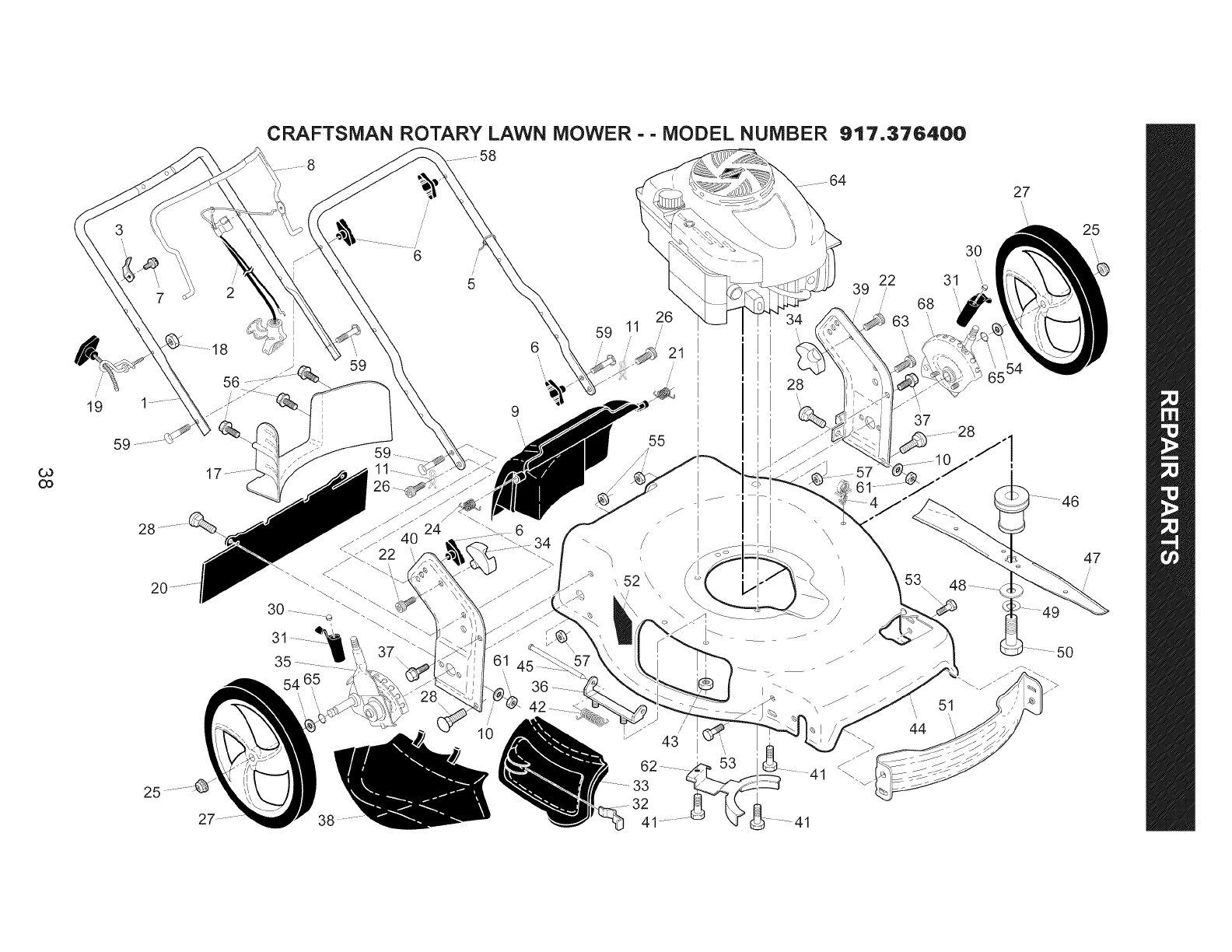 Page 38 of Craftsman Lawn Mower 917.376400 User Guide