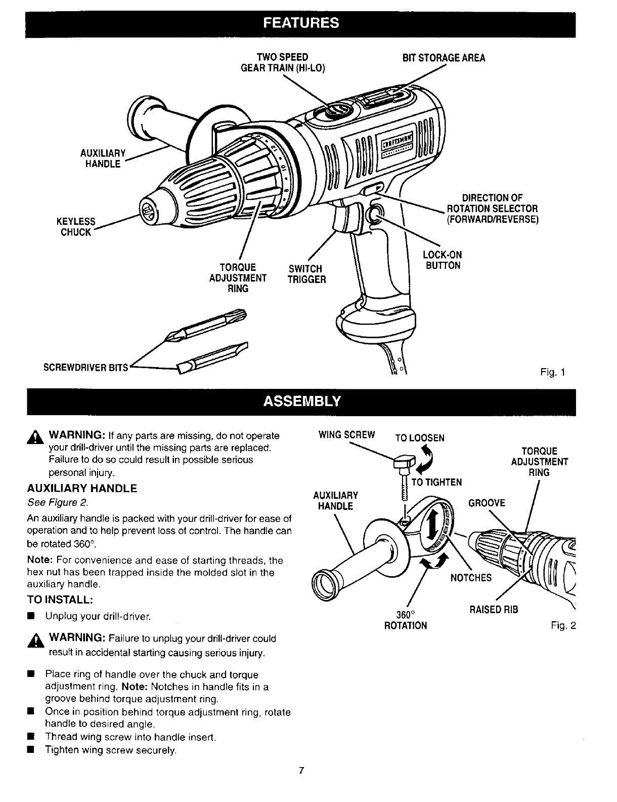 Page 7 of Craftsman Drill 315.27994 User Guide