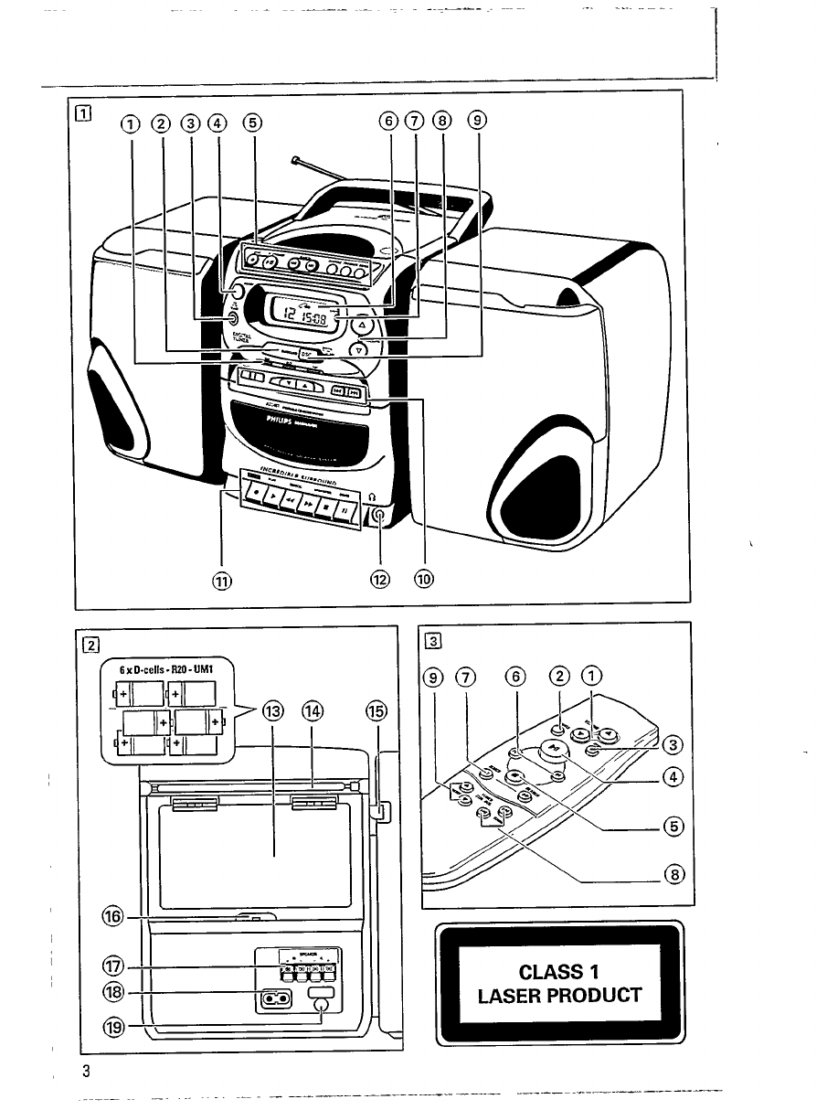 Page 3 of Magnavox CD Player AZ 2407 User Guide