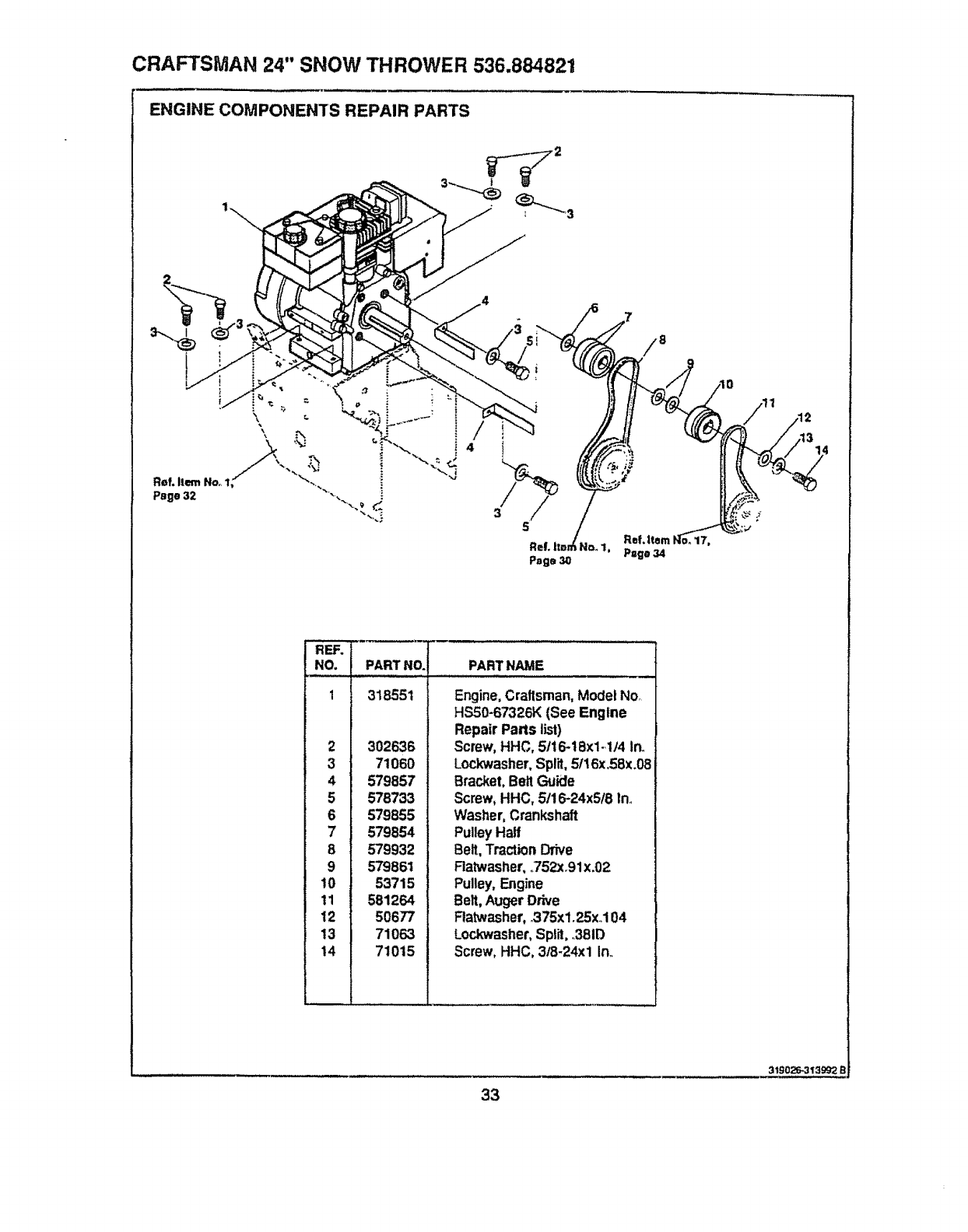 Page 33 of Sears Snow Blower 536.884821 User Guide