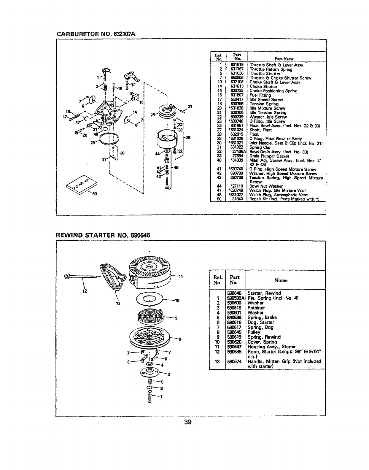 Page 39 of Sears Snow Blower 536.884821 User Guide