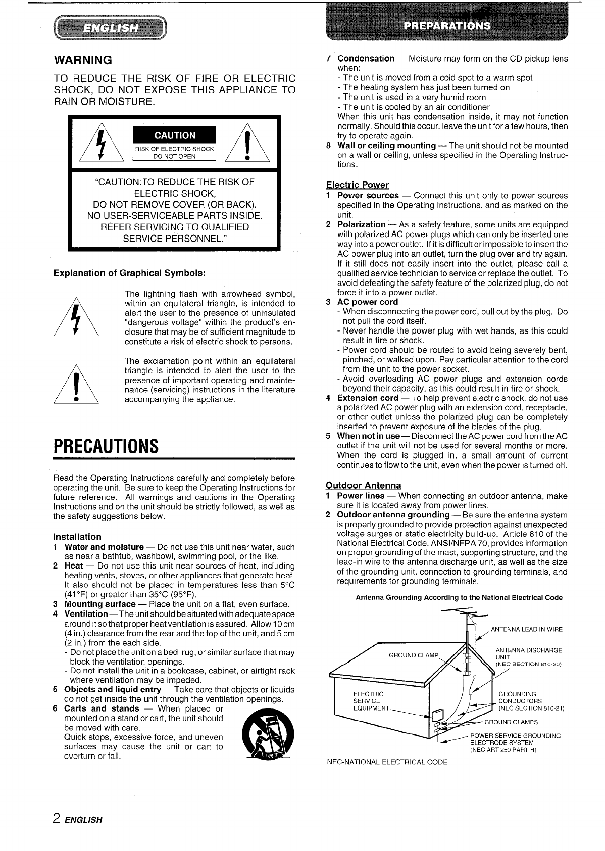 Page 2 of Aiwa Stereo System XR-M70 User Guide