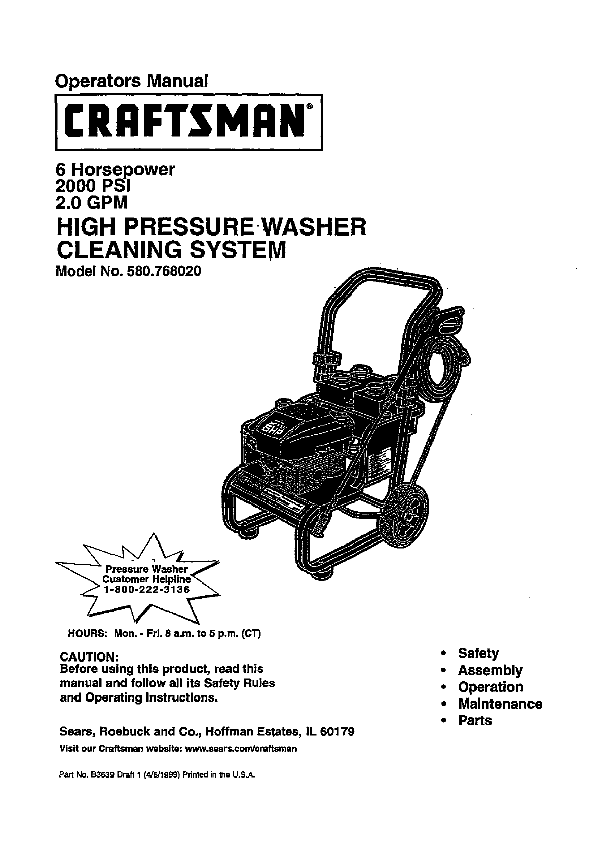 Craftsman Pressure Washer 580.768020 User Guide