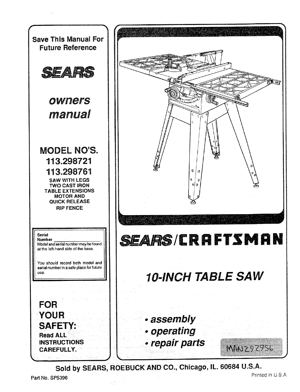 Craftsman Saw 113.298721, 113.298761 User Guide