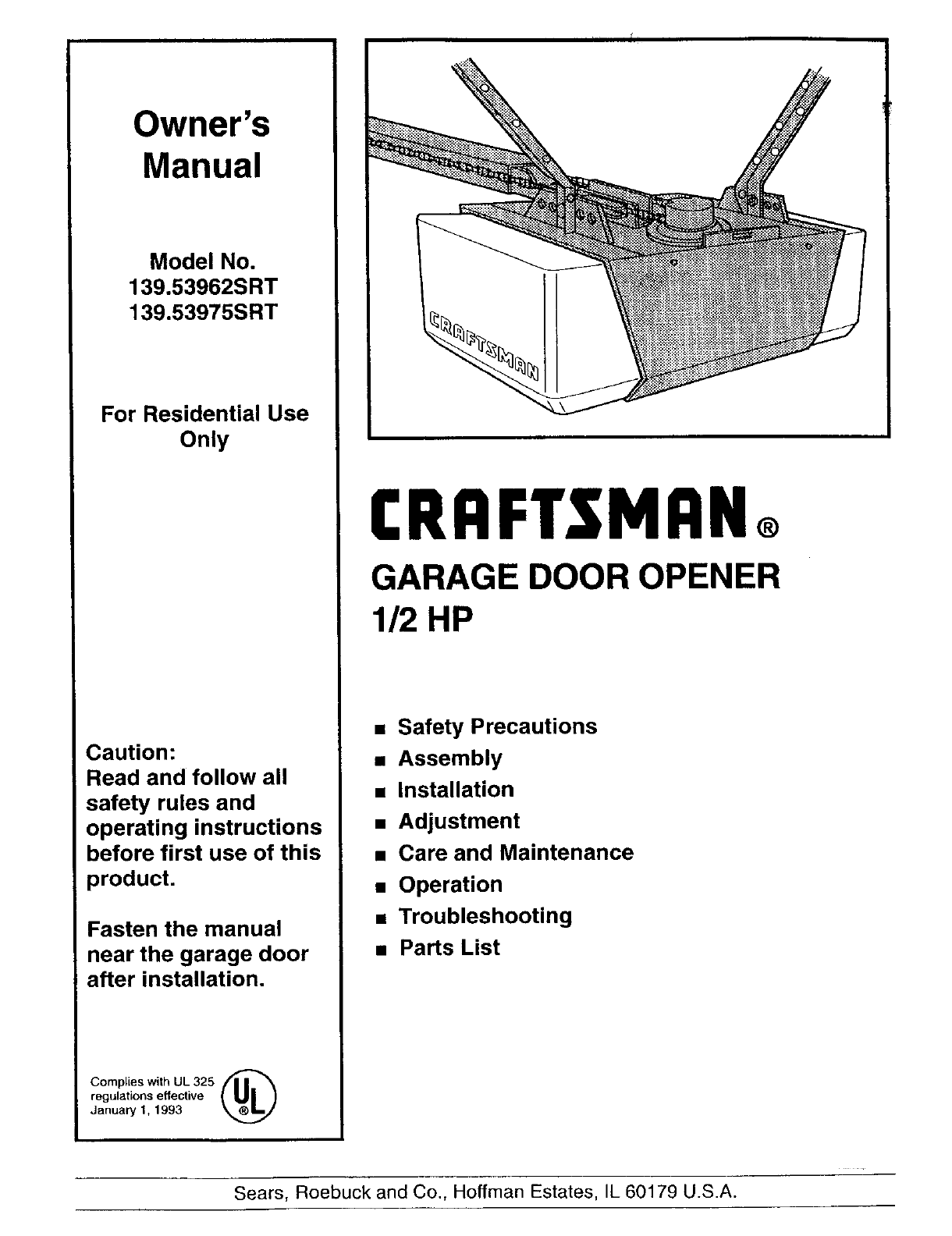 Craftsman Garage Door Opener 139.53962 SRT User Guide