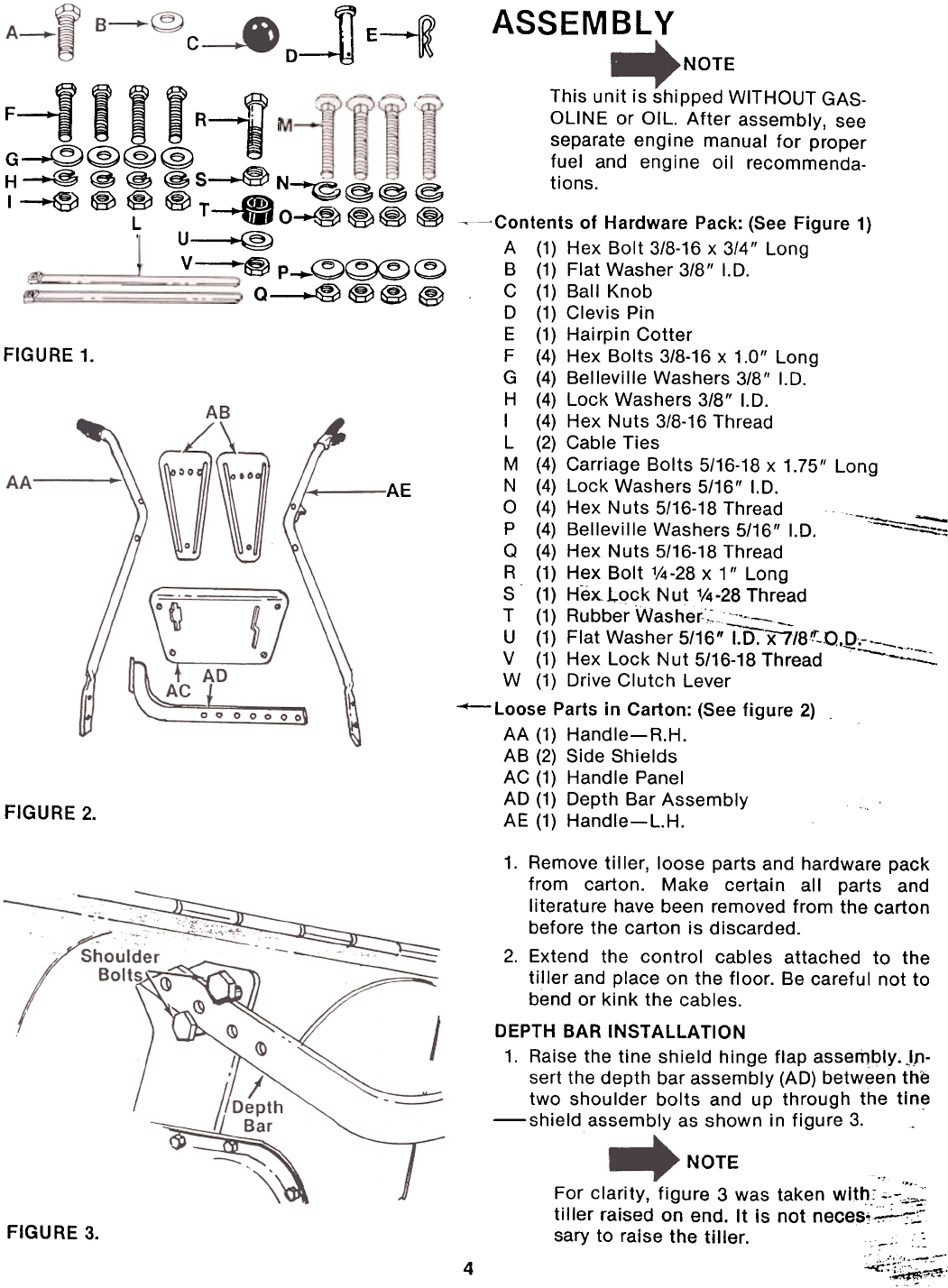 Page 4 of Montgomery Ward Tiller TMO-39084A User Guide