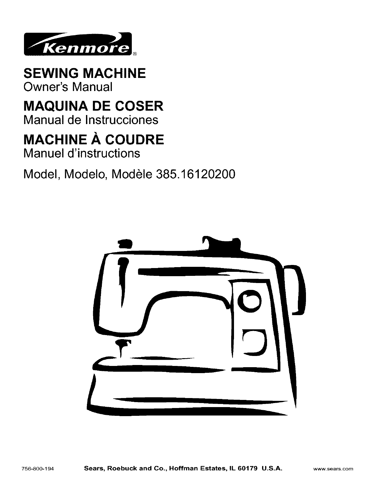 Kenmore Sewing Machine 385.16120200 User Guide