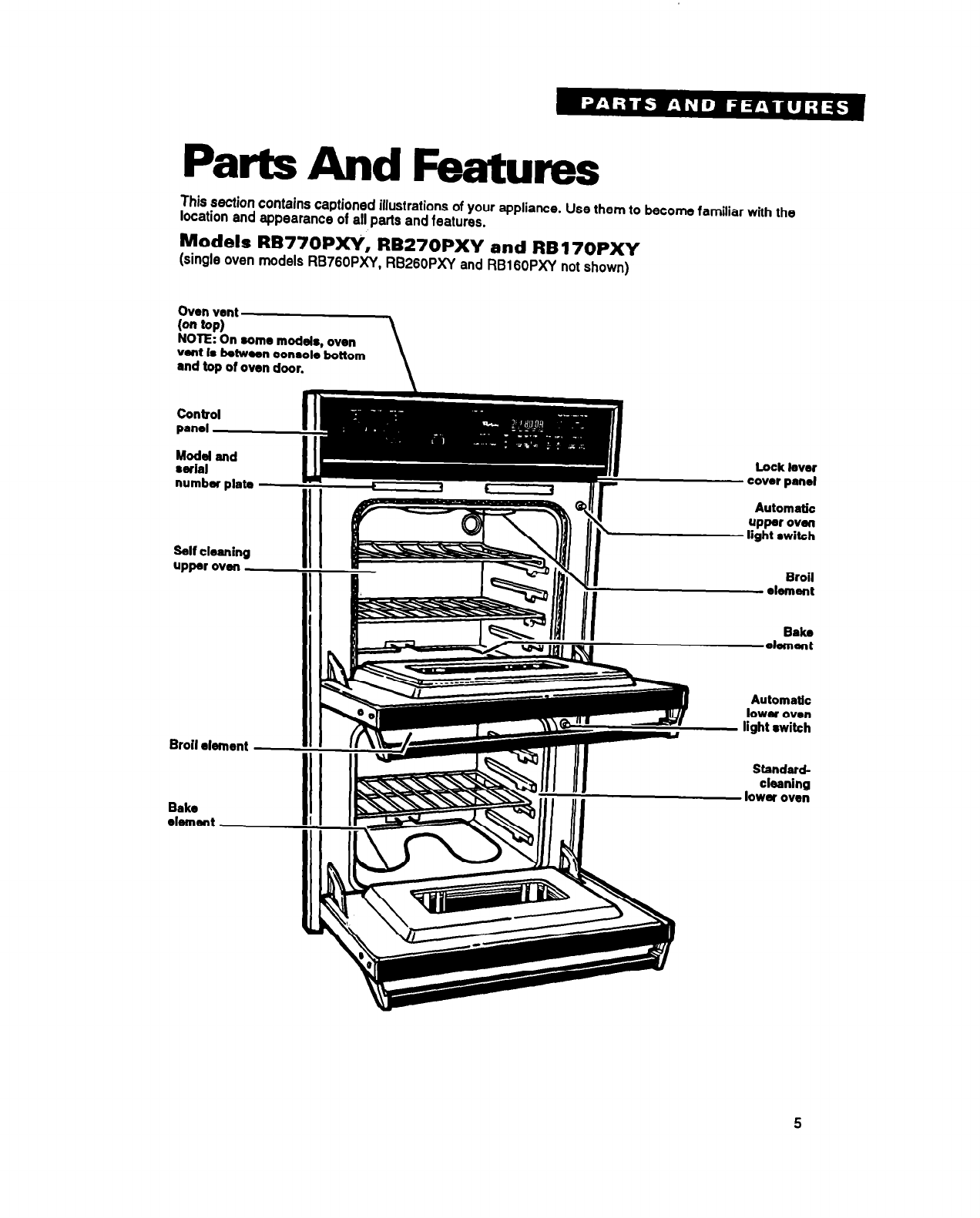 Page 5 of Whirlpool Oven RB270PXY User Guide