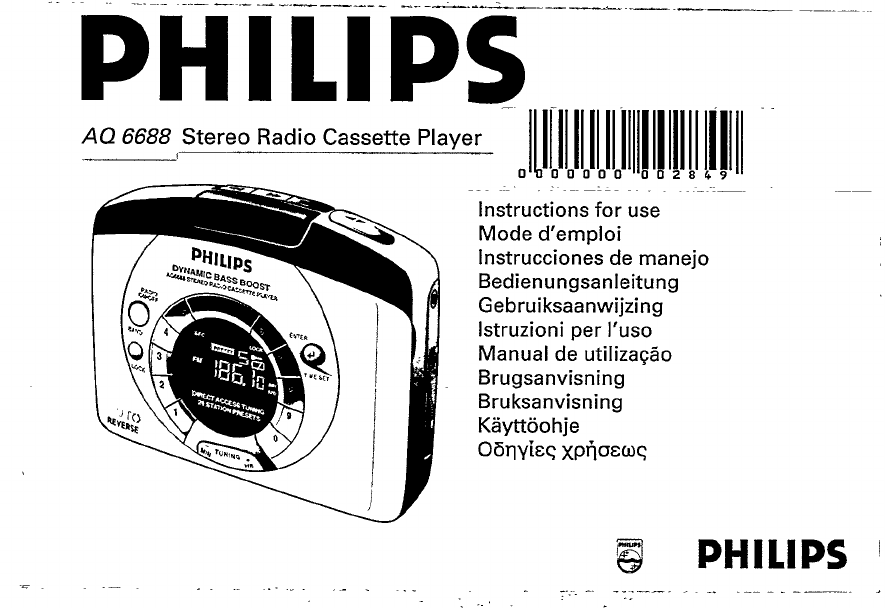 Philips Cassette Player AQ 6688/14 User Guide