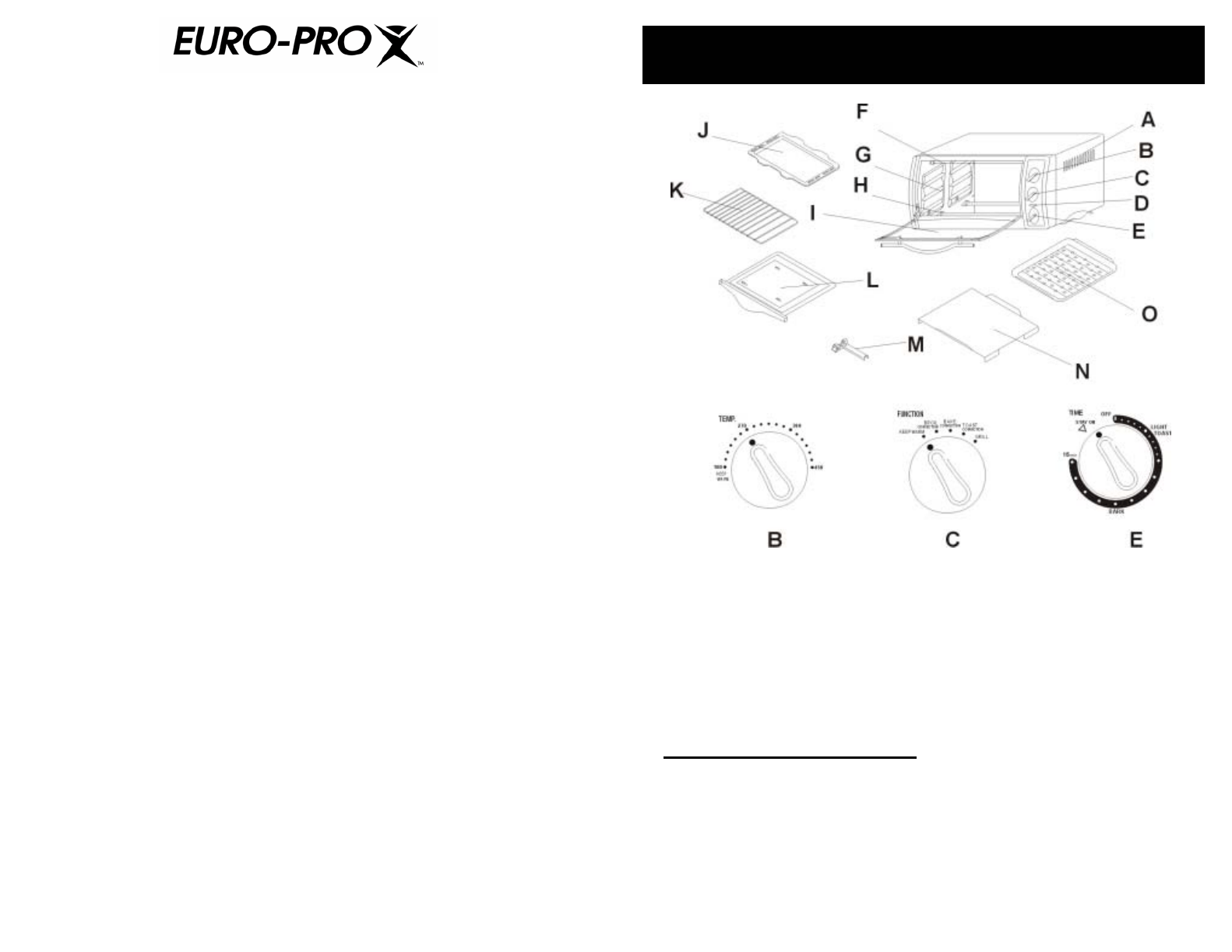 Page 3 of Euro-Pro Oven EP278 NP User Guide