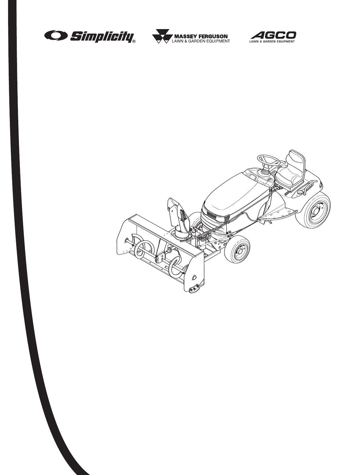 Massey Ferguson L&G Snow Blower 1694404 User Guide