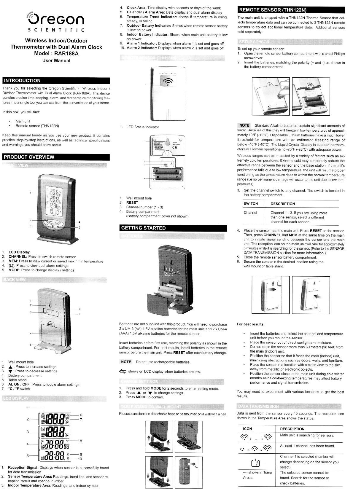 Oregon Scientific Thermometer RAR188A-BK User Guide