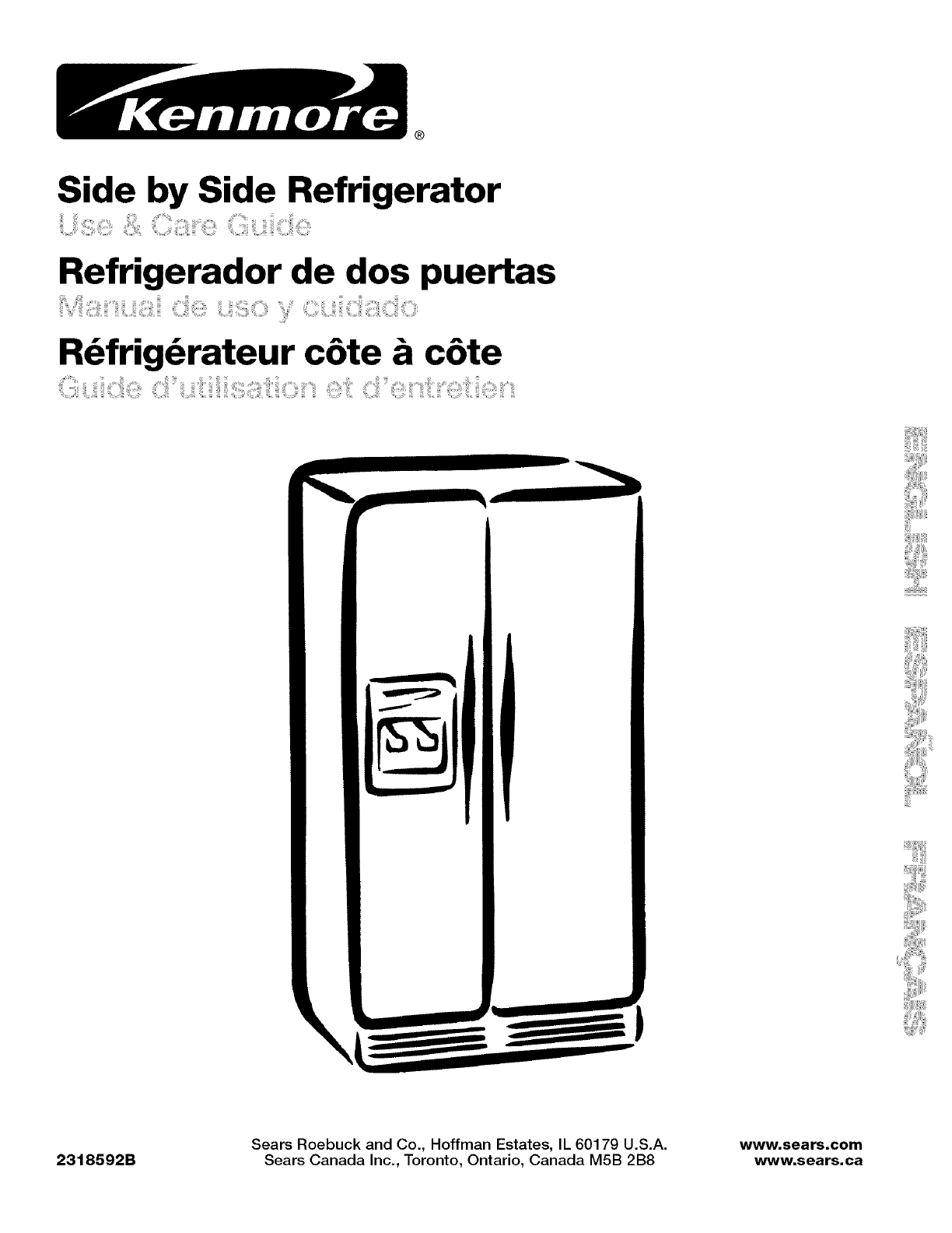 Kenmore Refrigerator 10656834601 User Guide