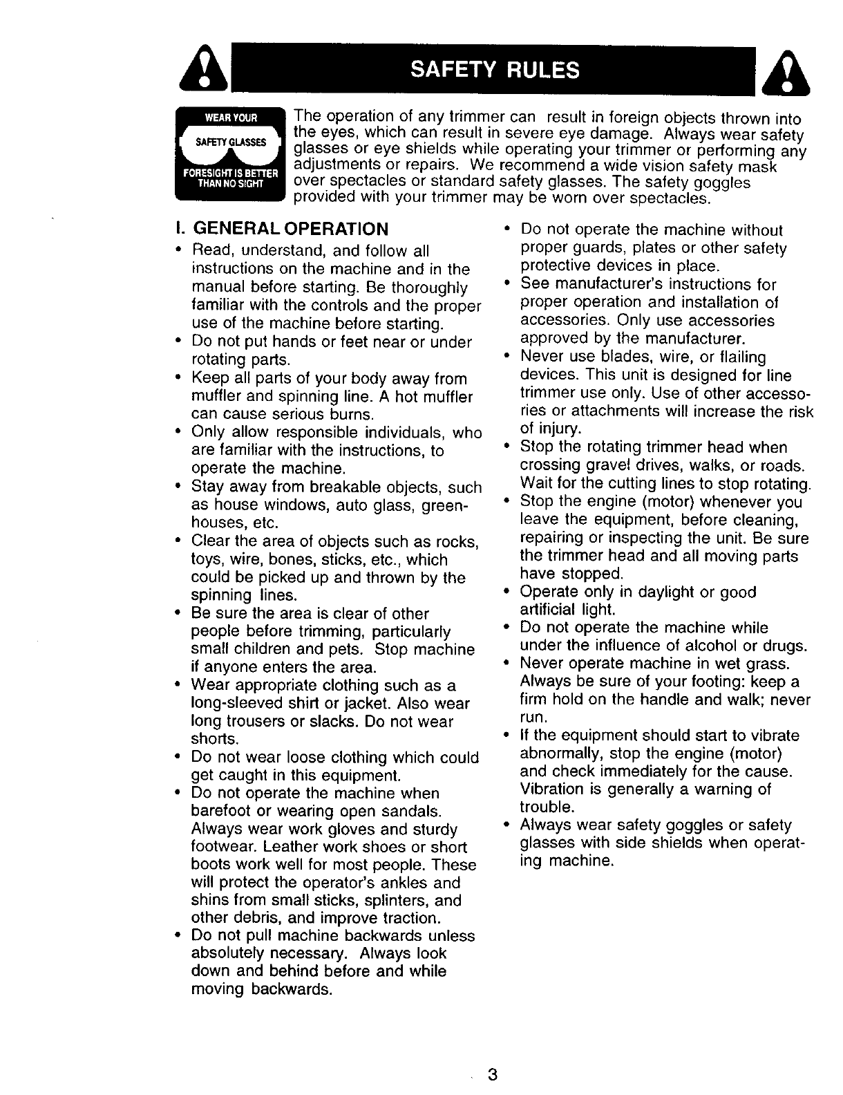 Page 3 of Craftsman Trimmer 917.77341 User Guide