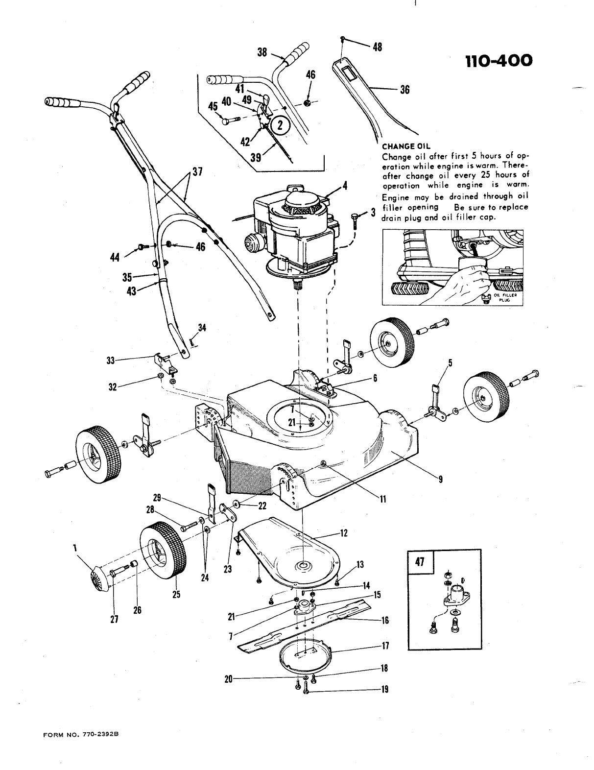 Page 2 of Bolens Lawn Mower 110-400 User Guide