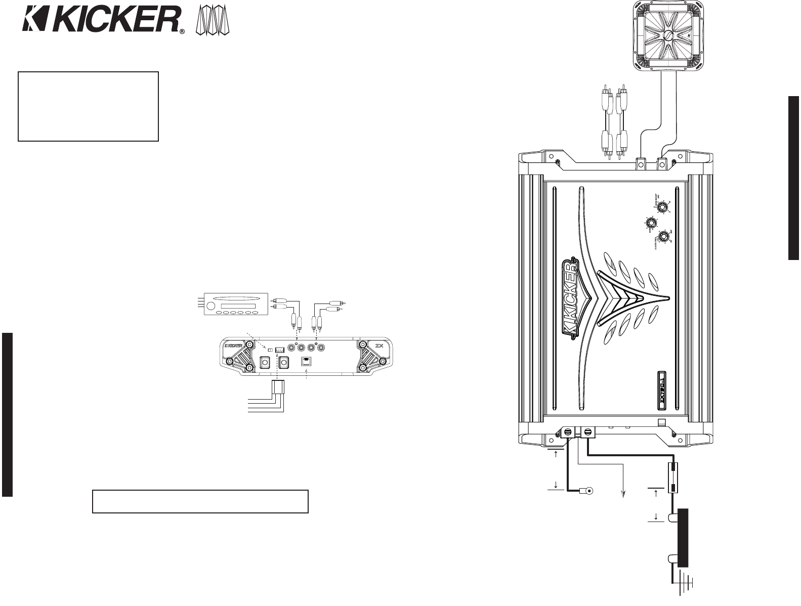Page 2 of Kicker Stereo Amplifier ZX400.1 User Guide