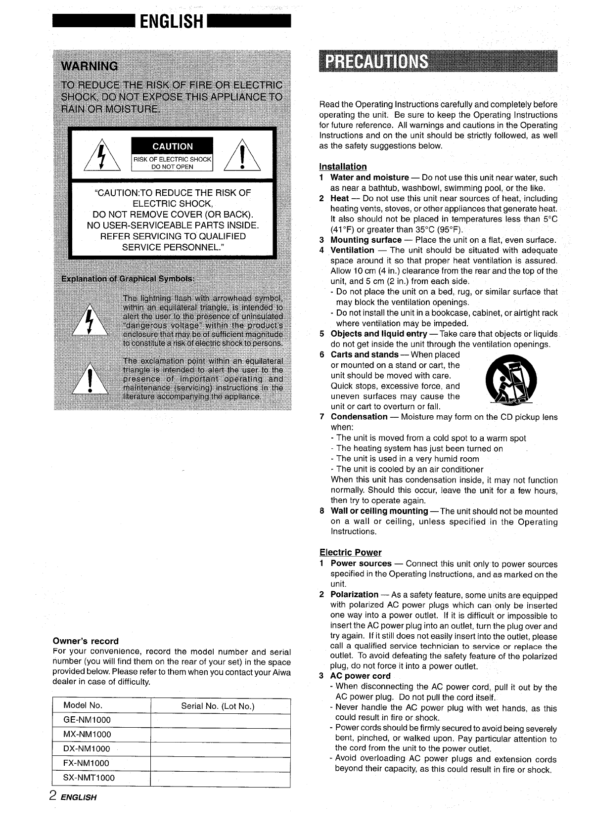 Page 2 of Aiwa Stereo System XR-M1000 User Guide