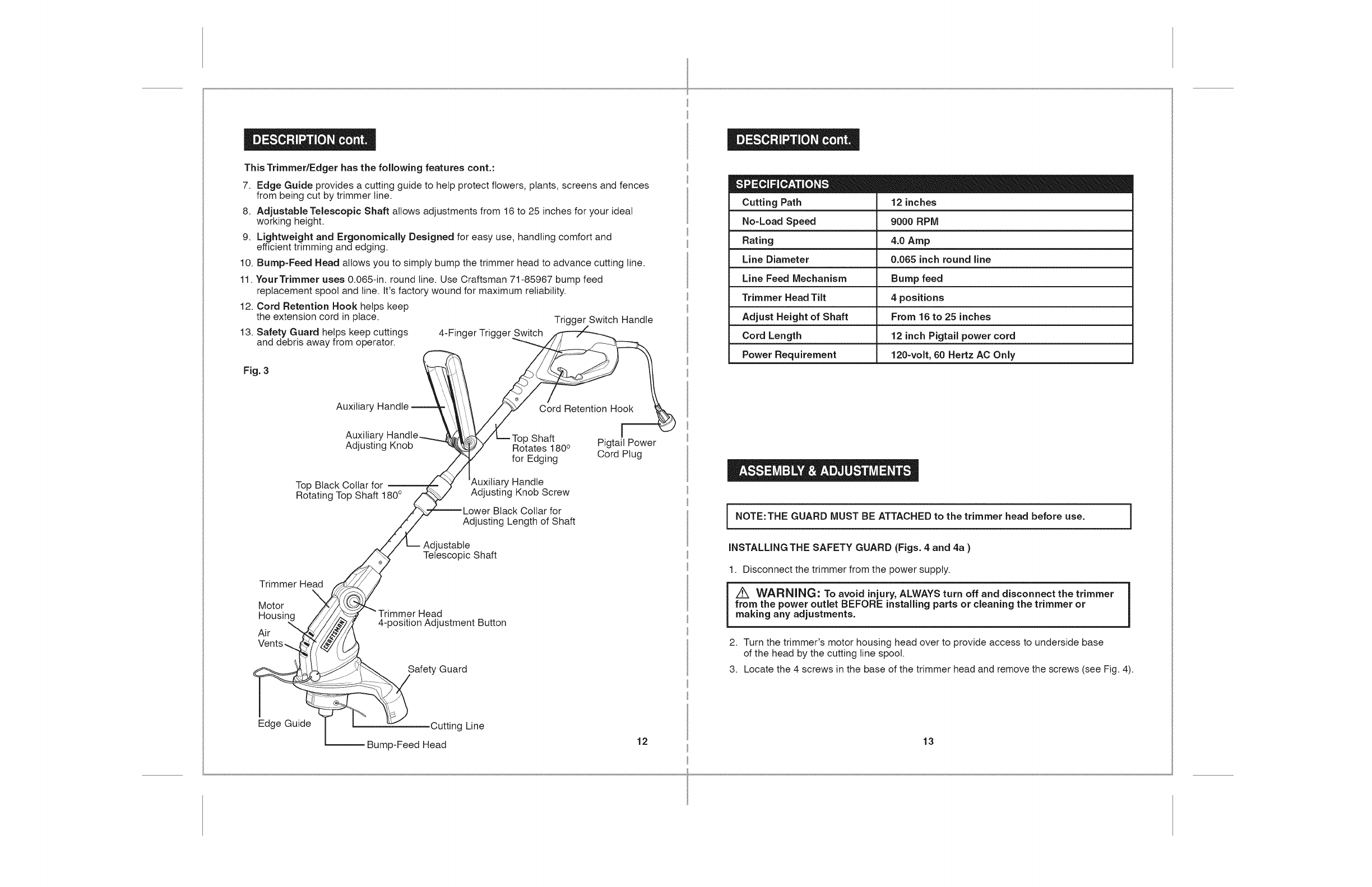Page 7 of Craftsman Trimmer 172.74544 User Guide