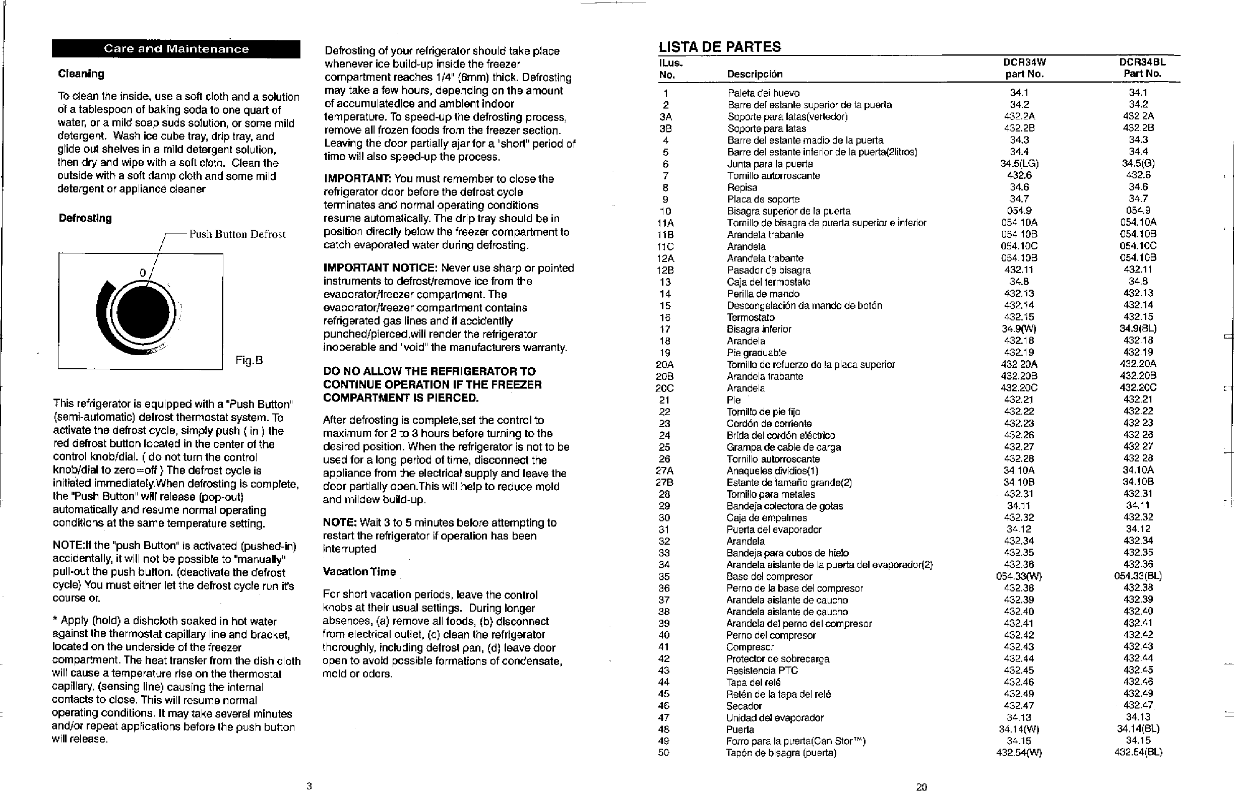 Page 4 of Danby Refrigerator DCR34W User Guide