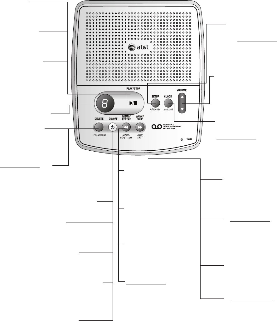 Page 5 of AT&T Answering Machine 1739 User Guide