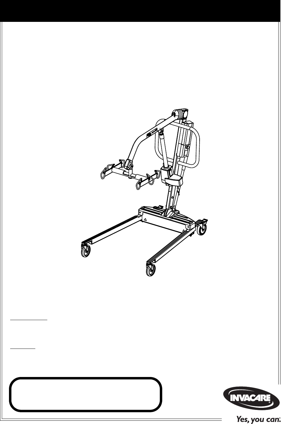 Invacare Fitness Equipment RPA600-1E User Guide