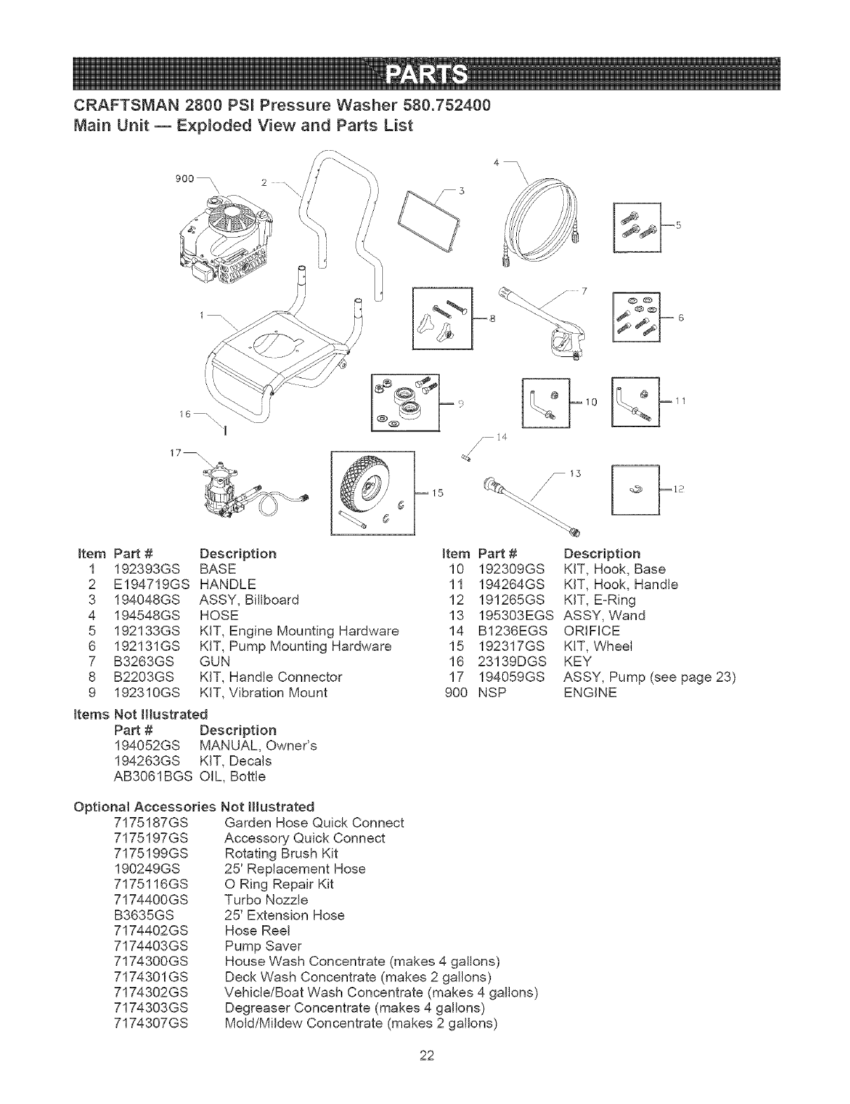 Page 22 of Craftsman Pressure Washer 580.7524 User Guide