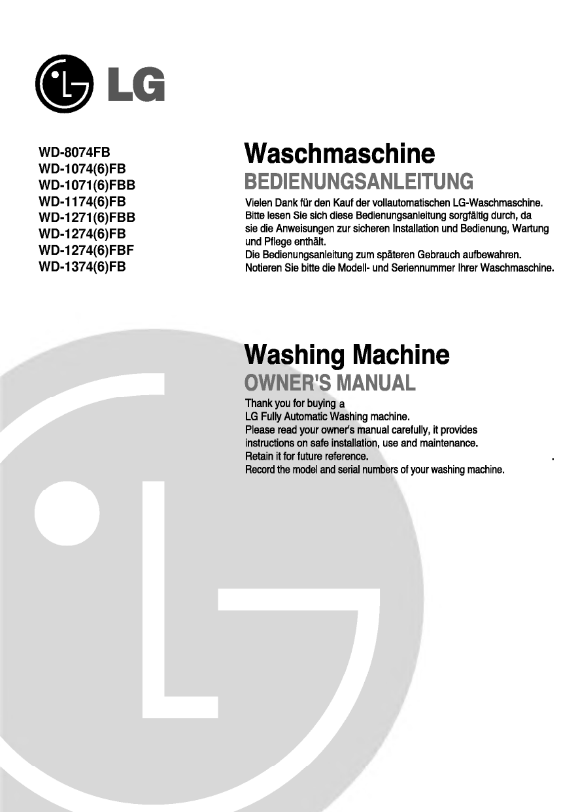 Lg Electronics Washer Wd-1274(6)Fb User Guide | Manualsonline.Com