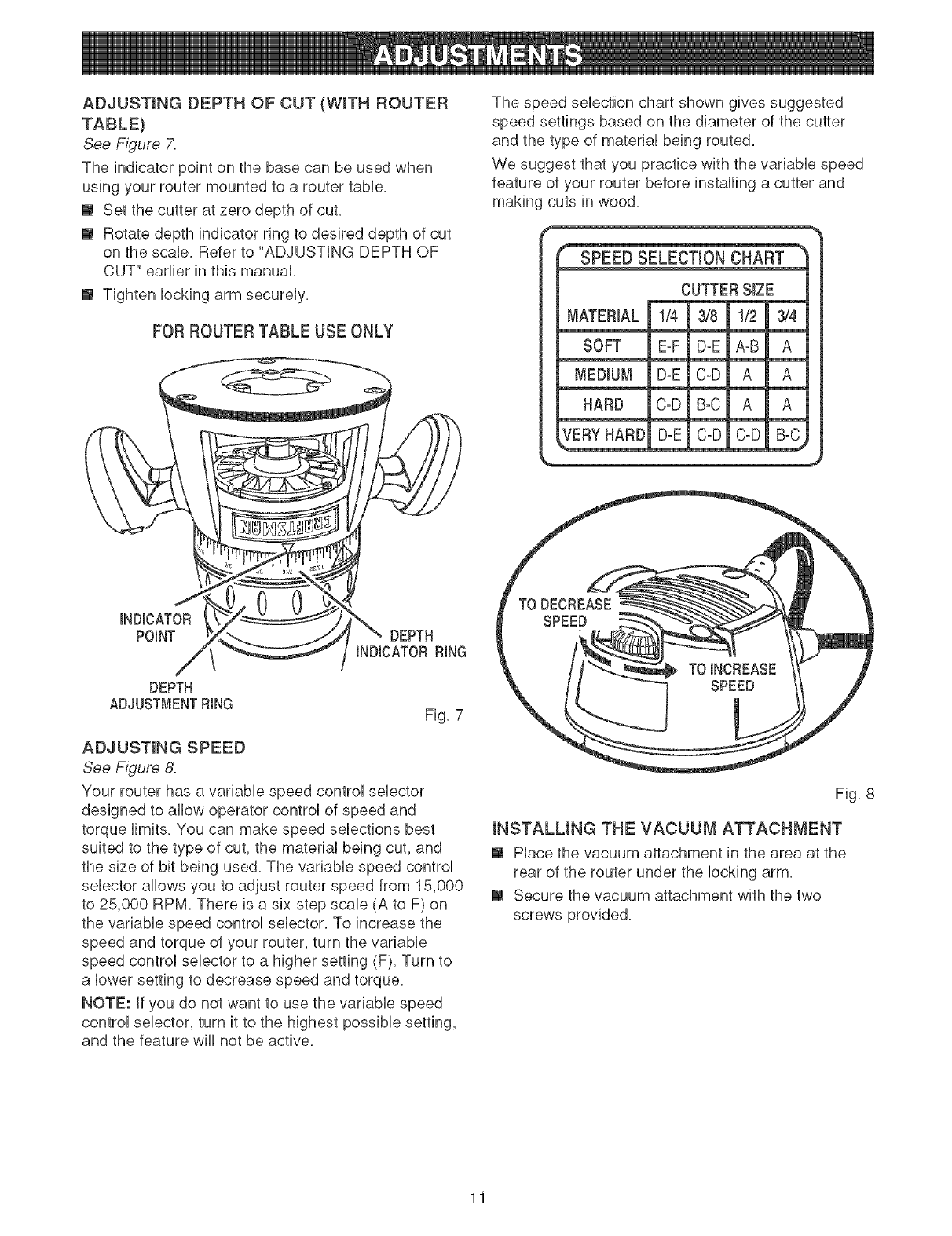Page 11 of Craftsman Router 315.26921 User Guide