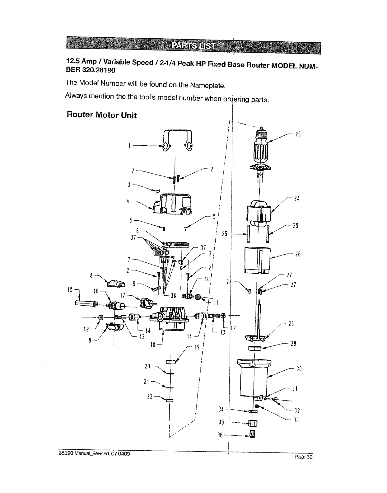 Page 39 of Craftsman Router 320.2819 User Guide