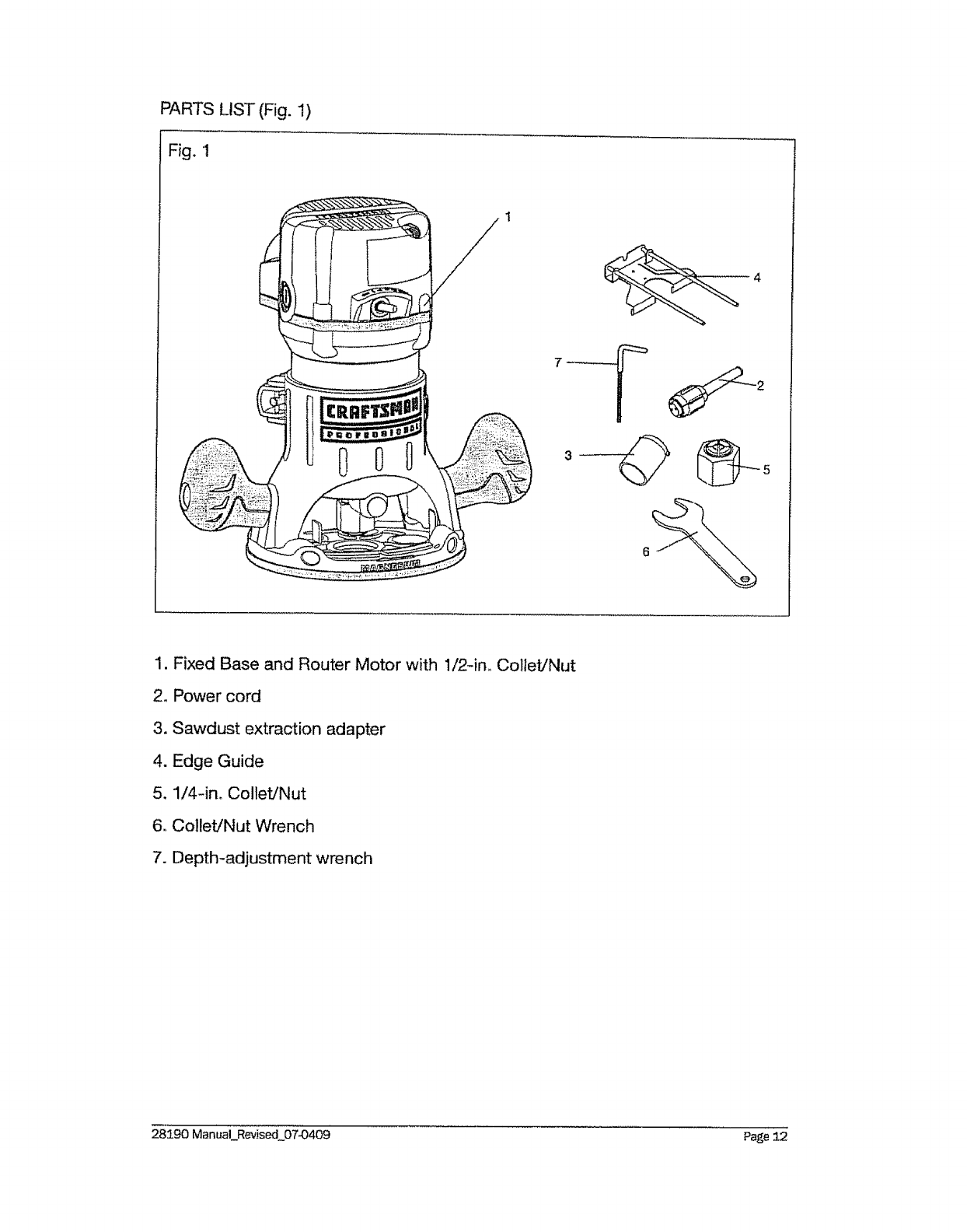 Page 12 of Craftsman Router 320.2819 User Guide