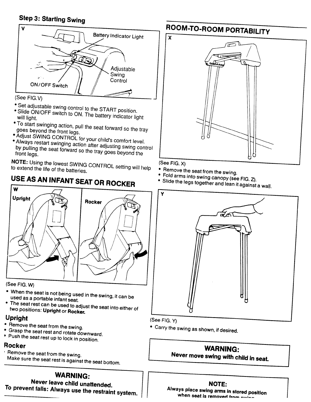 Page 3 of Fisher-Price Baby Swing 9122 User Guide