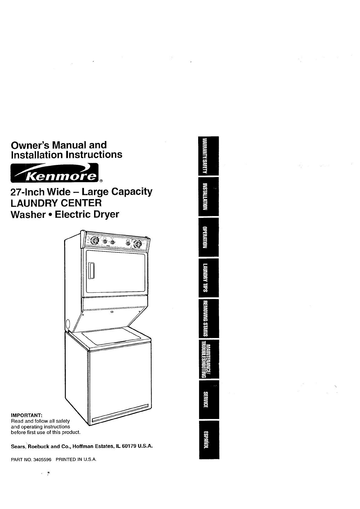Kenmore Washer/Dryer Washer/Dryer User Guide